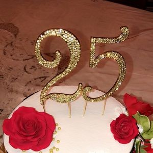 Gold rhinestone number 25 cake topper